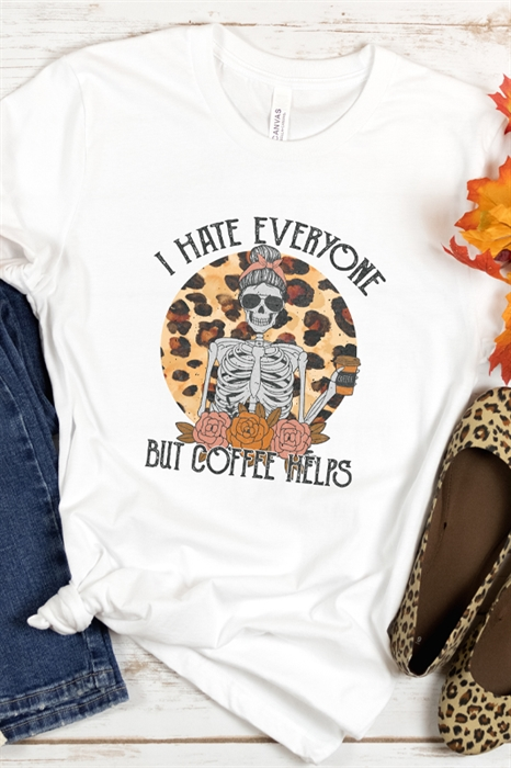 Picture of I Hate Everyone But Coffee Helps Graphic Tee