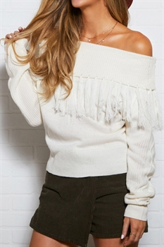 Picture of Off The Shoulder Fringe Sweater